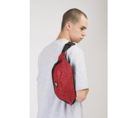 Сумка поясная Codered Hip Bag Large Красный Таслан/Паттерн Bent Grid Черный